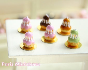 Religieuse a la rose  - French Pastry in 12th Scale - Handmade Dollhouse Miniature Food