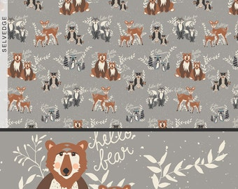 Cotton Fabric, Hello Bear, Art Gallery Fabric, Oh, Hello Fog, Bears, Fox Fabric, Deer, Owls, Woodland Creatures, Baby Nursery