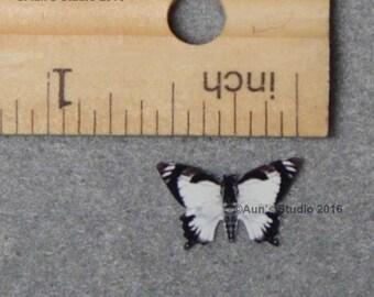 12 Tiny Paper Butterflies - Little black & white swallowtail butterflies