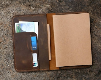 Vintage Leather A5 Journal Writing Notebook /  leather refillable travel diary A5 insert / Personalized 5x8 A5 leather organizer NBA505T