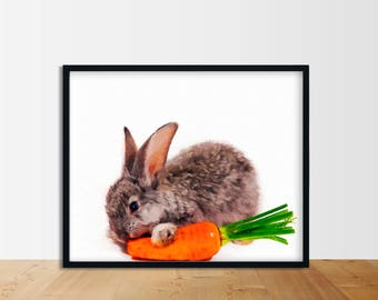 Rabbit print digital download oil paint on canvas lovely Bunny and carrot baby animal prints, wall art #143
