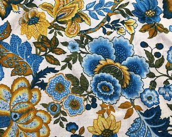 Vintage Drapery Weight Fabric Bohemian Blues and Golds One Yard Cotton Linen Littlepinktrailer