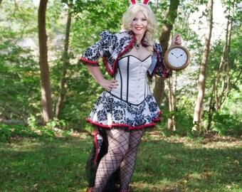 White Rabbit Costume   Alice in Wonderland Cosplay, Halloween Costume,  Womens Costume, Adult Costume, Steampunk Bunny Costume