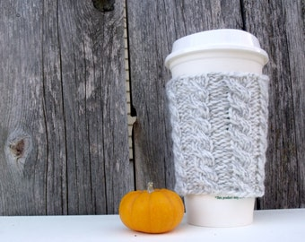 Coffee Cup Sleeve, Coffee Mug Cozy - Cable Knit Coffee Cup Cozy in Variegated White and Gray