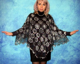 Women's crochet poncho with cuffs,Hand knit poncho,Warm poncho,Lace wool poncho,Goat down poncho,Handmade poncho,Crochet blouse,Fur tunic