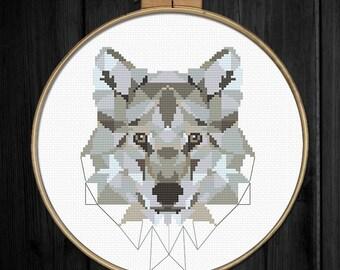 Wolf cross stitch pattern pdf, Instant download, Modern polygonal cross stitch, Animal cross stitch