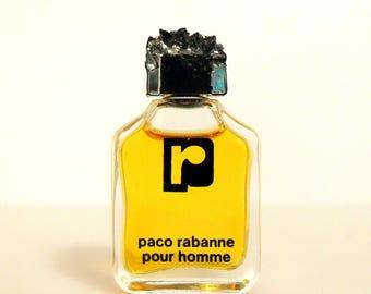 Vintage 1980s Paco Rabanne Pour Homme 0.17 oz Eau de Toilette Mini Miniature Cologne