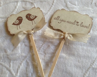 Love Bird Cupcake Picks - All You Need Is Love Cupcake Picks - Wedding Cupcake Toppers - Bridal Shower Cupcake Toppers - Set of 12