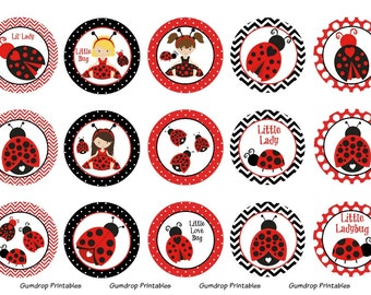 Little Ladybug Bottle Cap Images ~ Buy 3 Get 1 FREE Instant Download 4x6 inch ~ Lovebug ~ 1 Inch Circles ~ Printable Images Lb-256