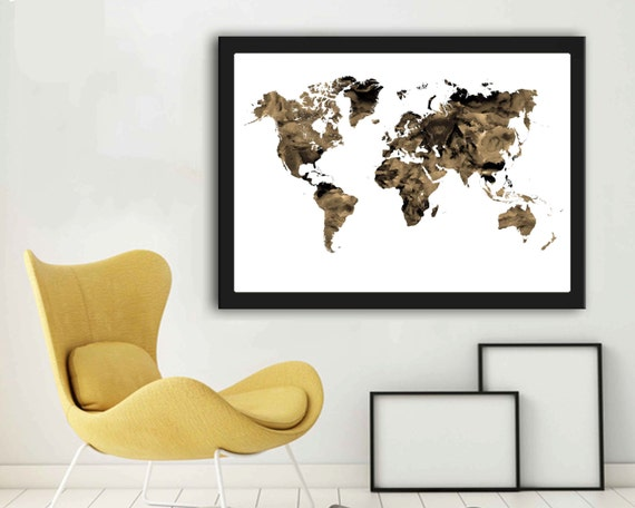 Large a2 world map modern world map wall art map art sepia large a2 world map modern world map wall art map art sepia prints world map printable a2 world map poster a2 map gumiabroncs Image collections