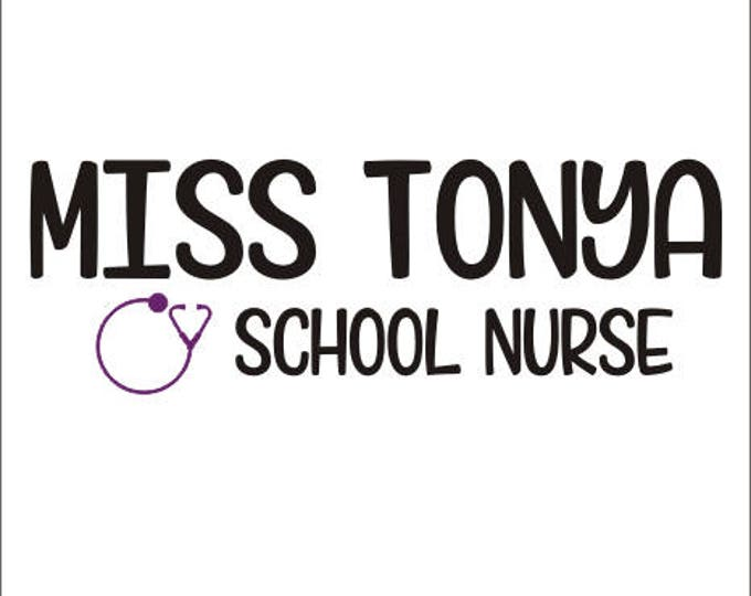 School Nurse Decal Personalized Decal School Nurse with Stethoscope Name for Door Classroom School Clinic Back to School