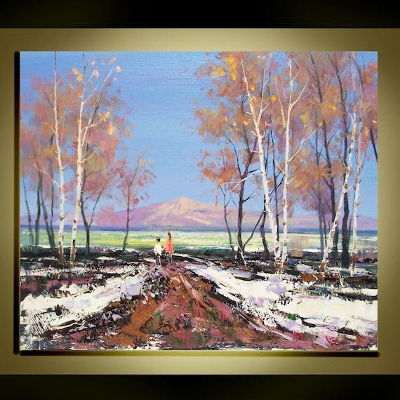 Original Ölgemälde Modern Spachtel Landschaft fine arts auf