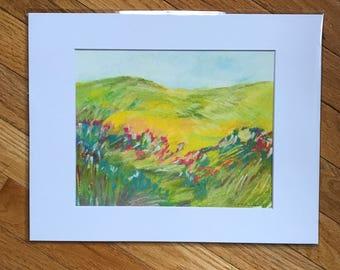 Original landscape artwork, landscape drawing, pastel drawing, landscape drawing, original art, landscape art, pastel artwork, 11x14 artwork
