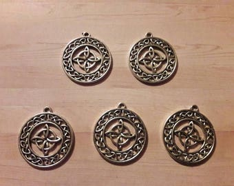 Next day shipping- celtic knot wiccan charm 5 piece charms large wiccan charms witches knot charms