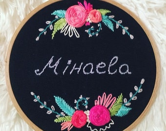 Hand Embroidery Hoop Art; Personalized hoop; Wall decoration
