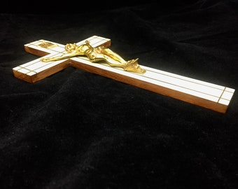 Vintage Wall Hung Crucifix Walnut and Mother of Pearl with Brass Inlay Made in France