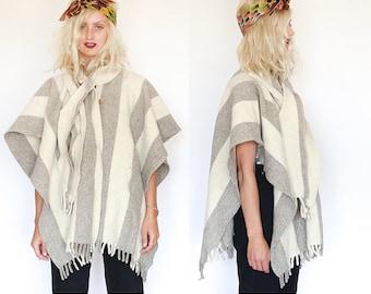 Joshua Tree Desert Dusk Boho Wool Blend Poncho - One Size Fits All