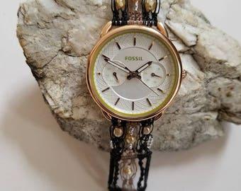 Stunning Fossil watch with handmade micro macrame watch band