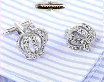 Personalized name cufflinks.initials cufflinks Custom Monogram An crown cufflinks Royal silver cufflinks personalized jewelry