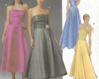 Jessica McClintock Womens Evening Gowns Perfect for Prom or Bridesmaids OOP Simplicity Sewing Pattern 5238 Size 8 10 12 14 Bust 31 1/2 to 36