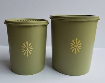 Pair of Green Tupperware Canisters with Gold Detail and Tight Fit Lids