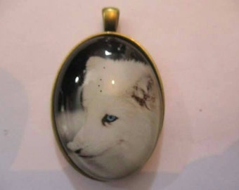 Cute snowy white fox animal themed oval pendant no chain included