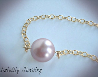 Pearl Necklace in Pink, Single Pearl Necklace, Bridesmaid Gift