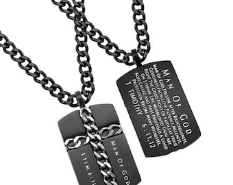 "Chain Cross Necklace ""Man Of God"""