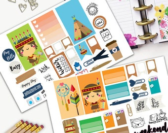 Boho Native Kawaii Theme Planner Weekly Sticker SMALL Kit, CLASSIC Happy Planner Sticker, Weekly Set, Stickers, Printed, Cut, Feather, Tepee