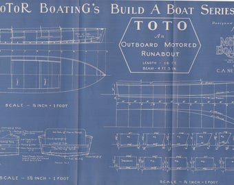 Vintage Motor Boat Ship Vintage Blueprint c.1940s Outboard Runabout Sailing Nautical Art Urban Industrial Decor