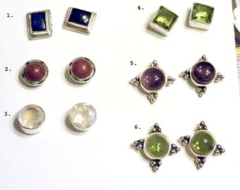 Post Sterling Earrings with Semi Precious Gems one pair
