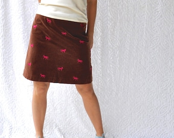90s Lilly Pulitzer Skirt || Brown Corduroy with Bright Pink Horses || High Waist 90s Skirt. 1990s Lilly Pulitzer Corduroy Skirt with Pockets