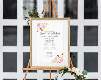 Wedding Program Sign, Floral Program Sign, Floral Wedding, Printable Program Sign, Wedding Welcome Sign, Welcome Program Sign #CL110