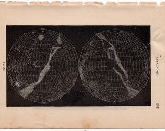 1882 celestial GLOBES ANTIQUE LITHOGRAPH - original antique print - celestial astronomy  - solar system - outer space galaxy super nova #1