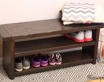 Superieur Storage Bench With 2 Shelves, Wood Bench, Shoe Storage
