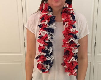 Patriotic Red, White and Blue Ruffle Scarf