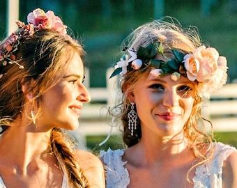 Pastel Blush Apricot Flower Crown Headband Flower Headpiece Floral Crown Rustic Wedding Flower Crown Wedding Hair Wreath FlowerWreath Blush
