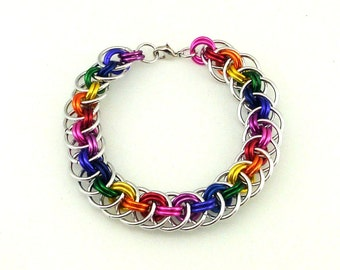 Chainmaille Jewellery, Rainbow Viperbasket Chainmail Bracelet, Large