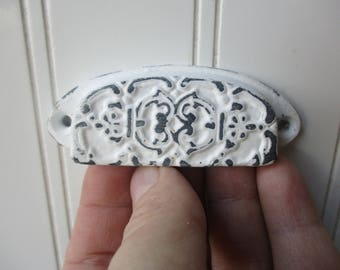 "Ornate embossed drawer bin pull chalk white over black distressed 3"" inch screw on cast iron cup handle shabby rustic farmhouse hardware"