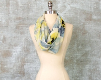 Womens Scarf, Floral Scarf, Infinity Scarf, Watercolor Scarf, Spring