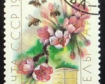 Bees and flowers -Handmade Framed Postage Stamp Art 21189AM