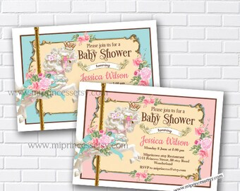 girl baby shower, Merry go round baby shower, Carousel invitation, circus baby shower, vintage carousel, baby shower, vintage, card 733