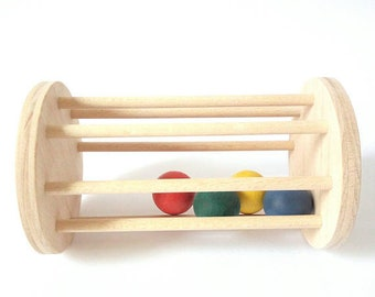 Cylinder with Ball. Ball cylinder. Ball rattle. Montessori cylinder. Montessori gift. Baby Rattle