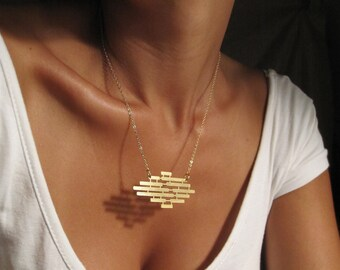 Gold Statement Necklace, Gold Plated Necklace, Geometric Jewelry, Geometric Necklace, Gold Bar Necklace, Bohemian Necklace, Rhombus Necklace