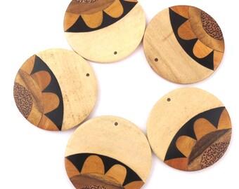 Sunflower Wood Discs, 5 pcs