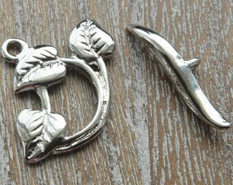Silver Clasp, Silver Toggle Clasp, Leaf Clasp, Silver Leaves, Jewellery Clasps, Silver Leaves Toggle Clasp, Pack of 3 Sets