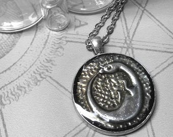 Dragon Ouroboros : hand embossed repoussé metal pendant necklace