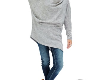 NO.182 Heather Grey Knitted Batwing Sleeves Sweater, Cowl Neck Tunic, Women's Sweater