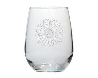 Sunflower Wine Glass / Free Personalization / Etched 17 oz Flower Stemless Wine Glass / Glass / Personalized Gift / Personalized Glass