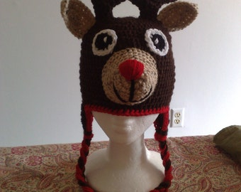 Rudolph the red nosed Reindeer, Christmas Reindeer Hat,Crochet Reindeer Hat, Rudolph Red Nose Hat, Crochet Adults Hat, Ready to Ship